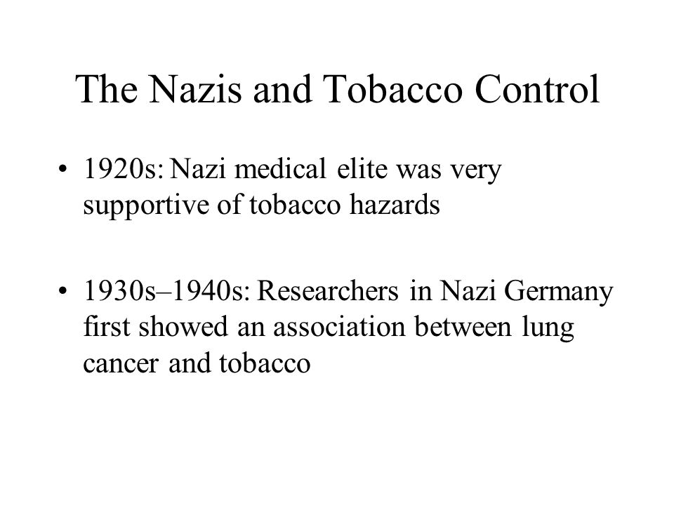 The Nazis and Tobacco Control