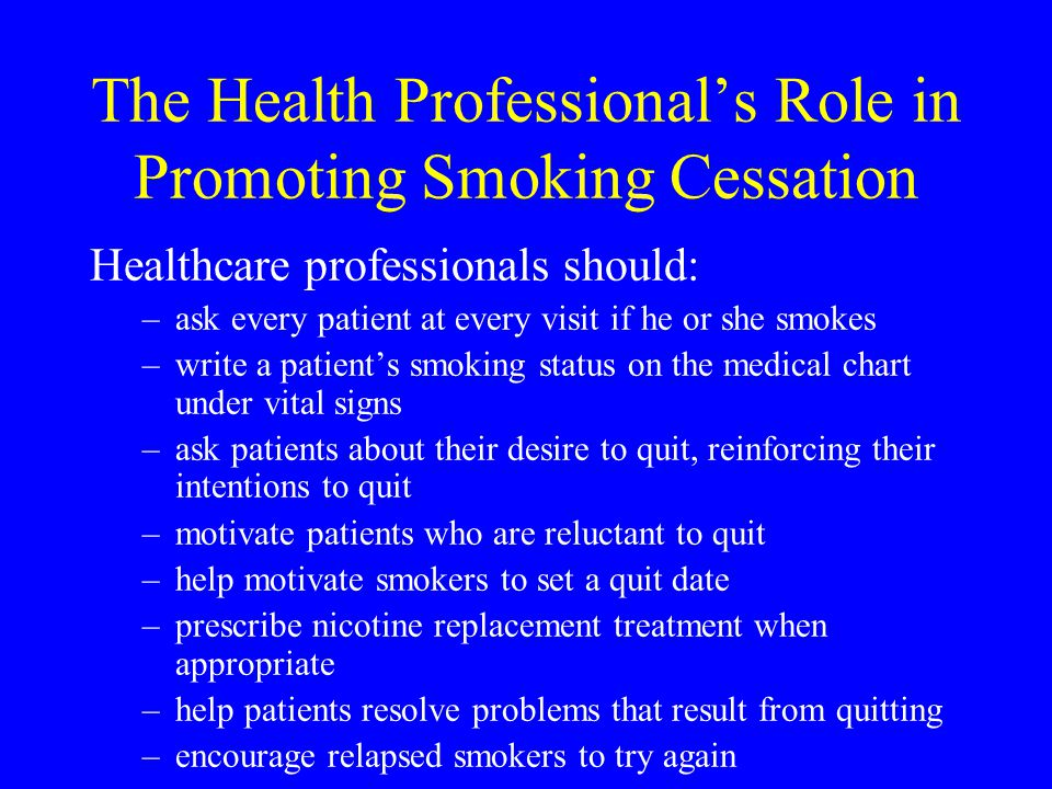 The Health Professional's Role in Promoting Smoking Cessation