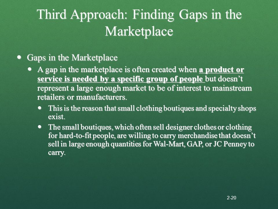 Third Approach: Finding Gaps in the Marketplace