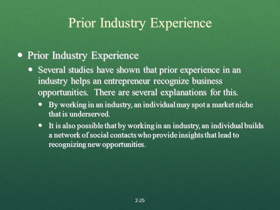 Prior Industry Experience