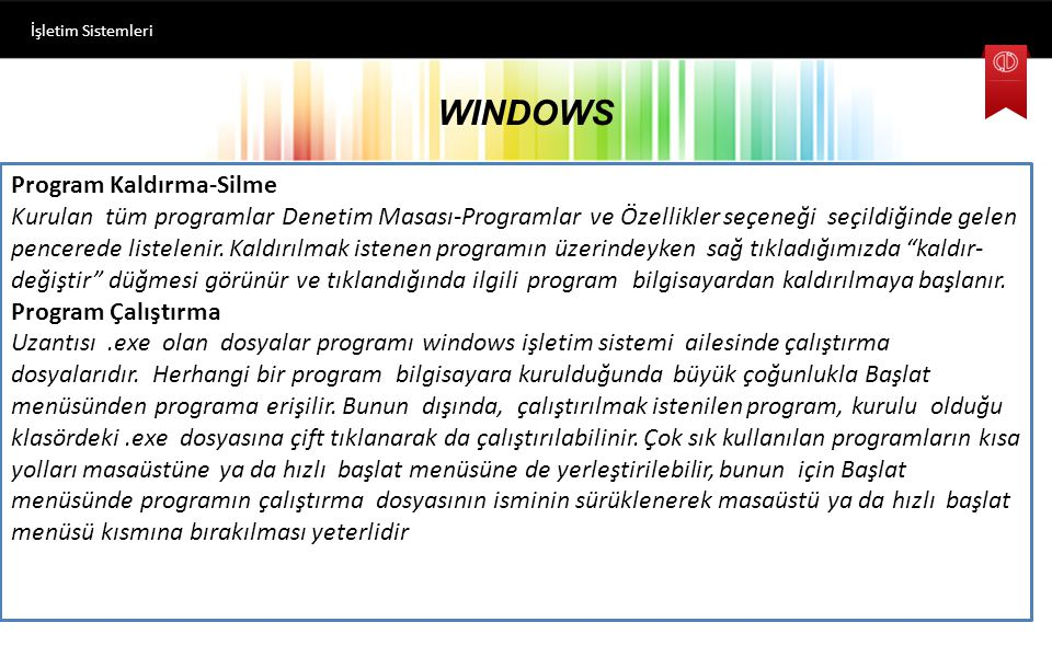 WINDOWS Program Kaldırma-Silme