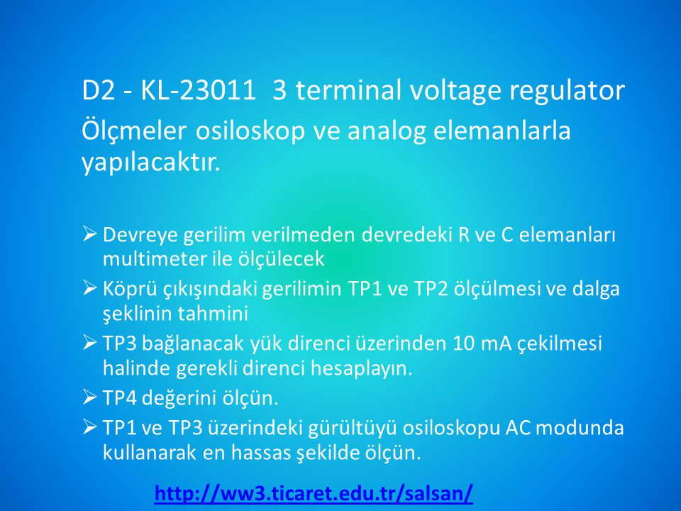 D2 - KL-23011 3 terminal voltage regulator