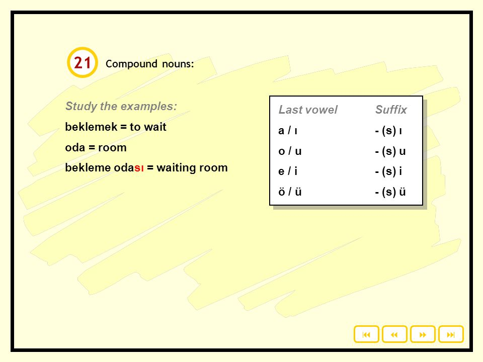 21 Study the examples: Last vowel Suffix beklemek = to wait