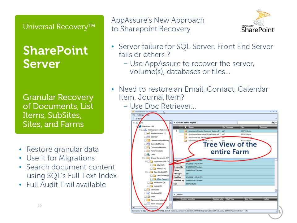 Universal Recovery™ SharePoint Server Granular Recovery of Documents, List Items, SubSites, Sites, and Farms