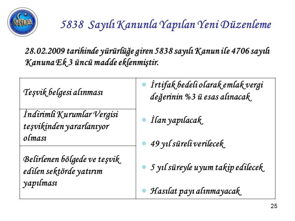 5838 Sayl Kanunla Yaplan Yeni Dzenleme