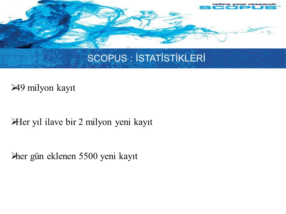 SCOPUS : İSTATİSTİKLERİ