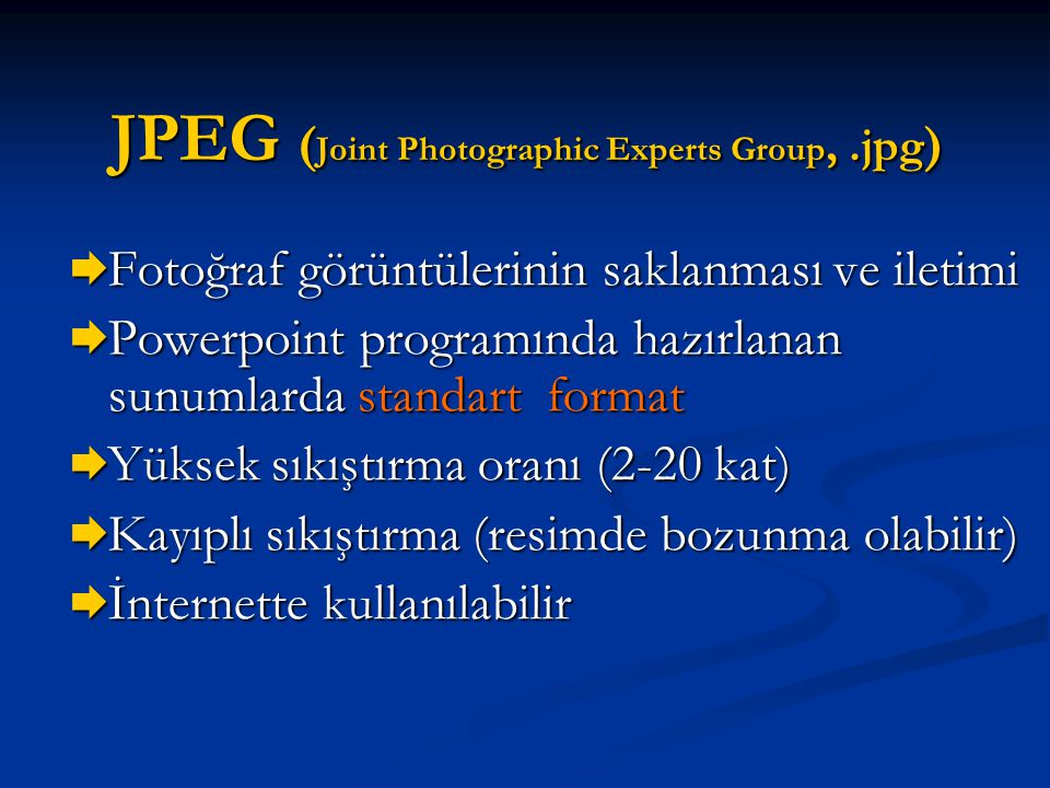 JPEG (Joint Photographic Experts Group, .jpg)