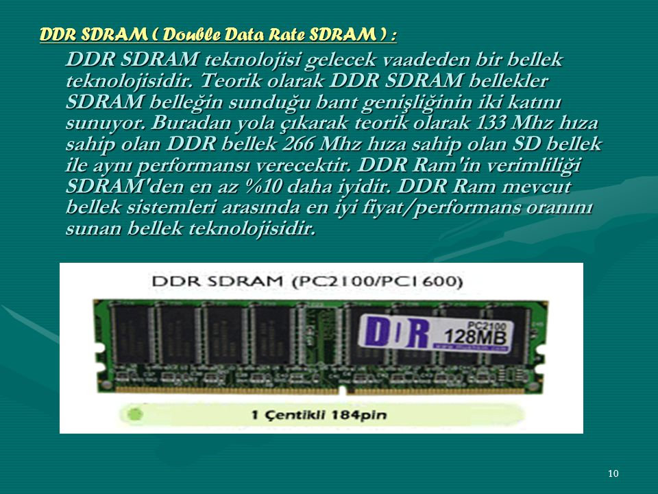 DDR SDRAM ( Double Data Rate SDRAM ) :