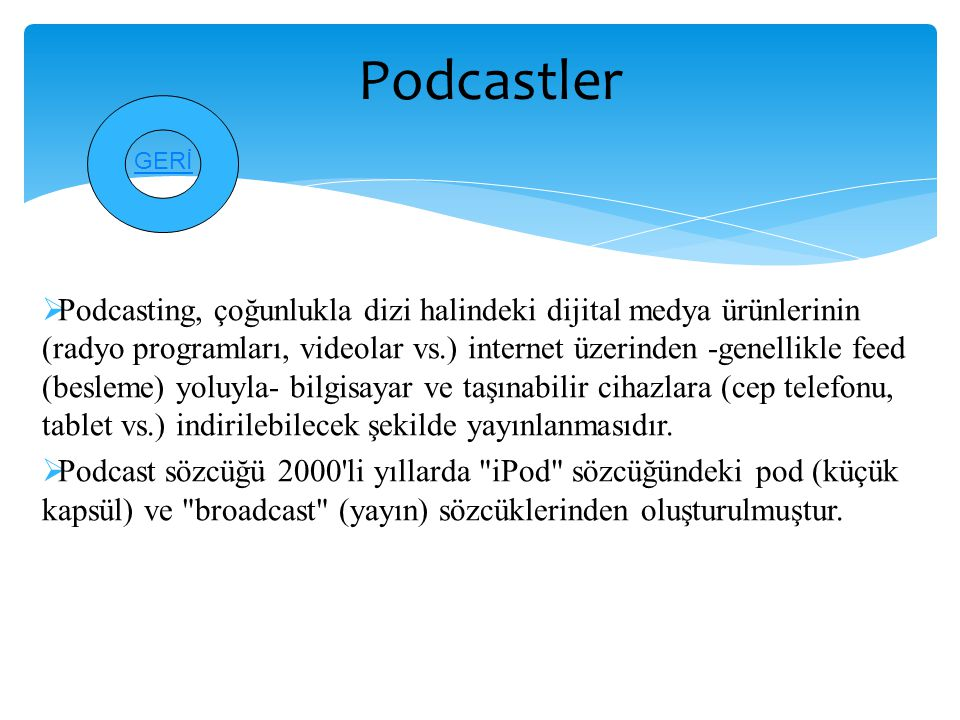 Podcastler GERİ.