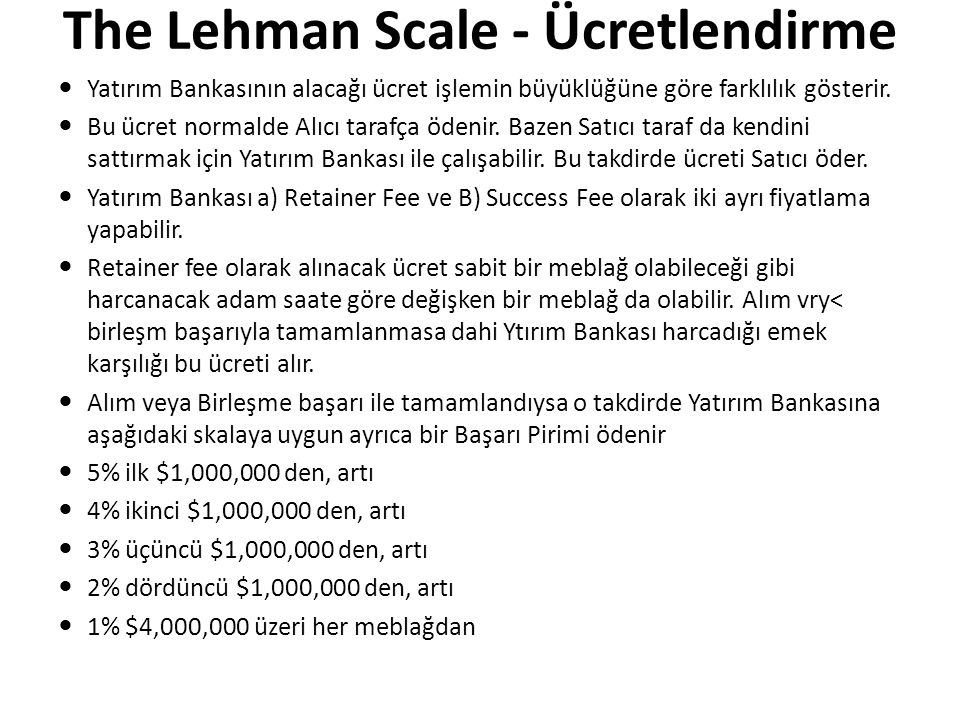 The Lehman Scale - Ücretlendirme