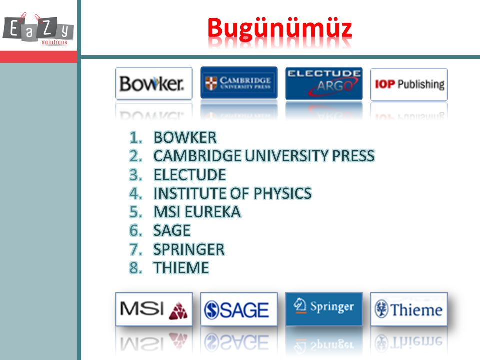 Bugünümüz BOWKER CAMBRIDGE UNIVERSITY PRESS ELECTUDE