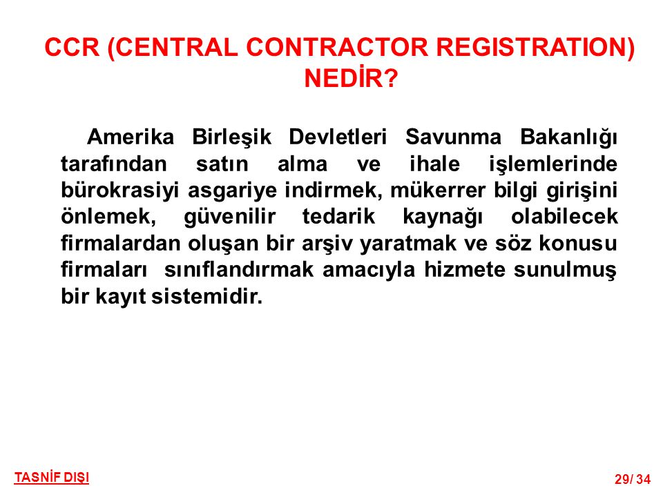 CCR (CENTRAL CONTRACTOR REGISTRATION) NEDİR