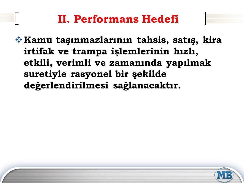 II. Performans Hedefi