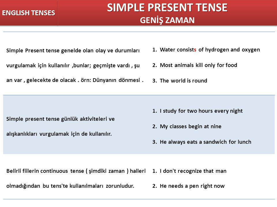 SIMPLE PRESENT TENSE GENİŞ ZAMAN ENGLISH TENSES