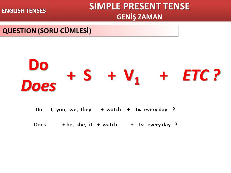 Do Does + S + V1 + ETC SIMPLE PRESENT TENSE GENİŞ ZAMAN