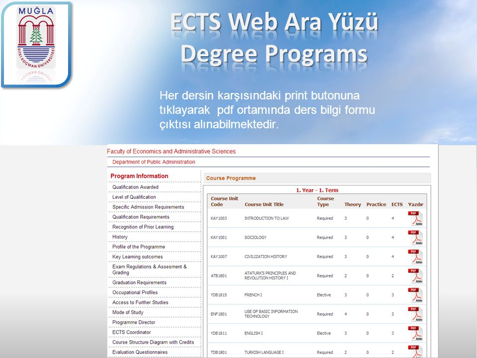 ECTS Web Ara Yüzü Degree Programs