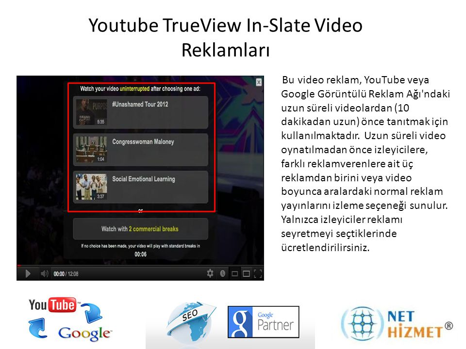 Youtube TrueView In-Slate Video Reklamları