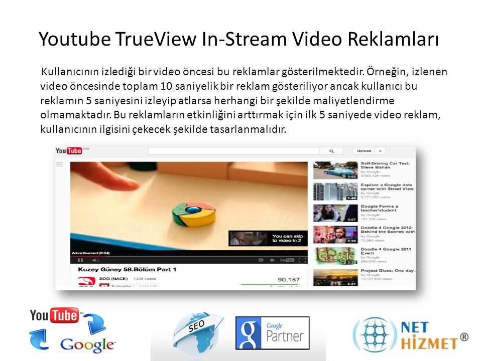 Youtube TrueView In-Stream Video Reklamları