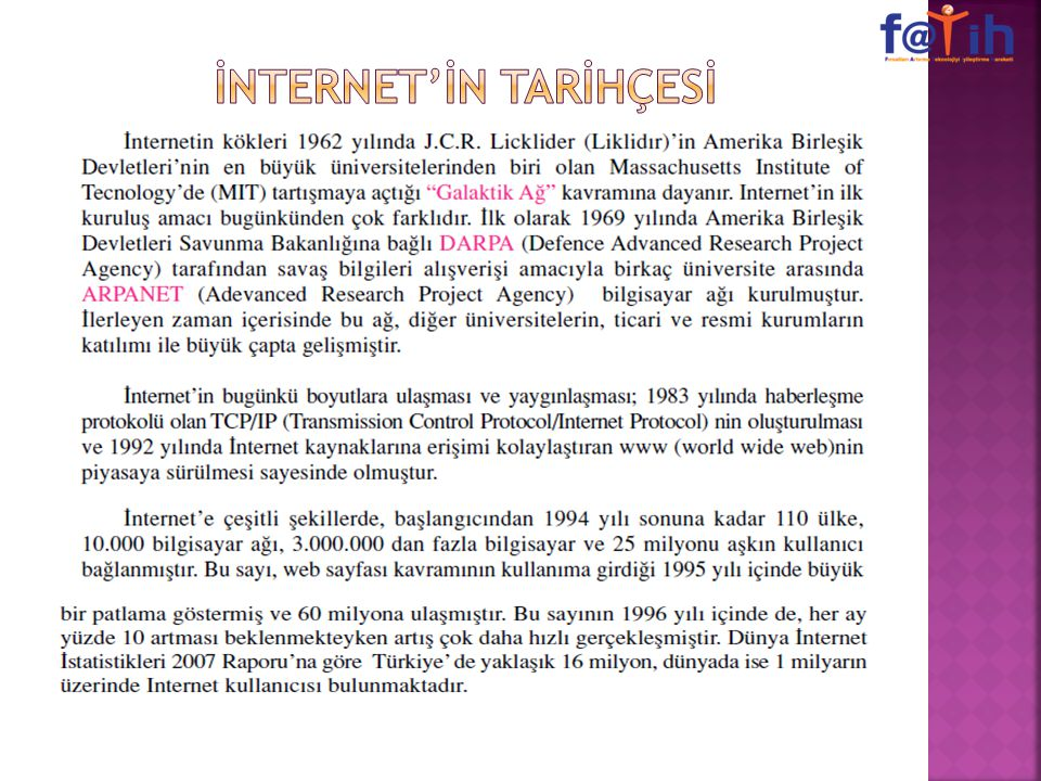 İNTERNET'İN TARİHÇESİ
