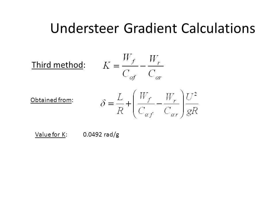 Understeer Gradient Calculations