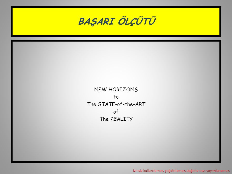 BAŞARI ÖLÇÜTÜ NEW HORIZONS to The STATE-of-the-ART of The REALITY