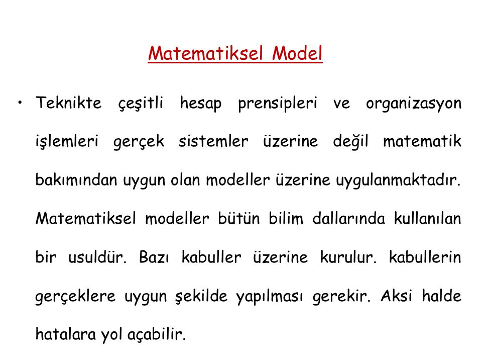 Matematiksel Model