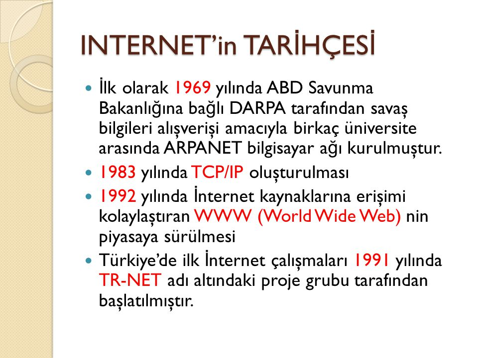 INTERNET'in TARİHÇESİ