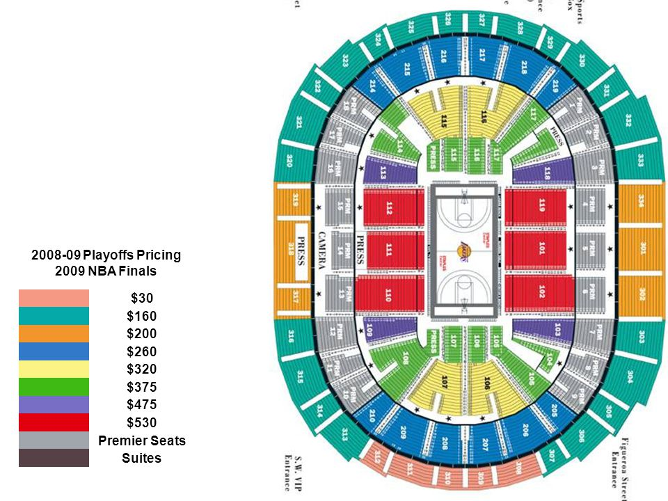 Playoffs Pricing 2009 NBA Finals. $30. $160. $200. $260. $320. $375. $475. $530. Premier Seats.