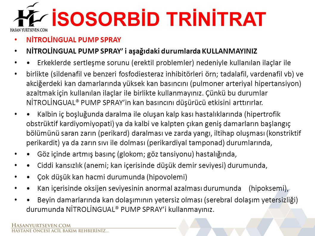 İSOSORBİD TRİNİTRAT NİTROLİNGUAL PUMP SPRAY