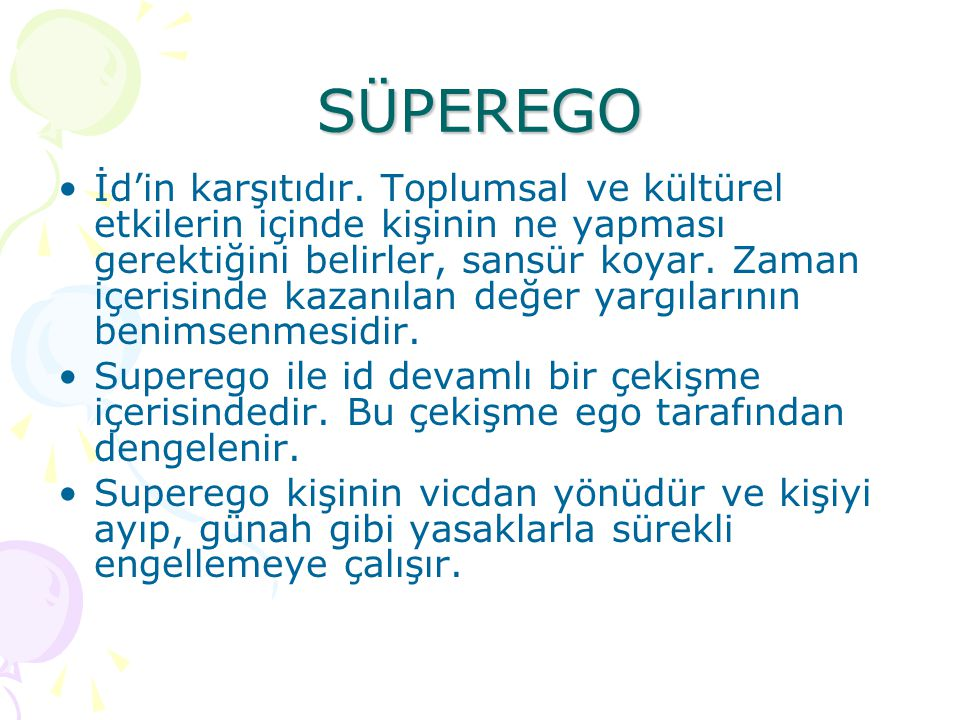 the main features and functions of the superego according to sigmund freud According to the psychoanalytic view, this psychological conflict is an intrinsic and pervasive part of human experience the conflict between the id and superego, negotiated by the ego, is one of the fundamental psychological battles all people face.