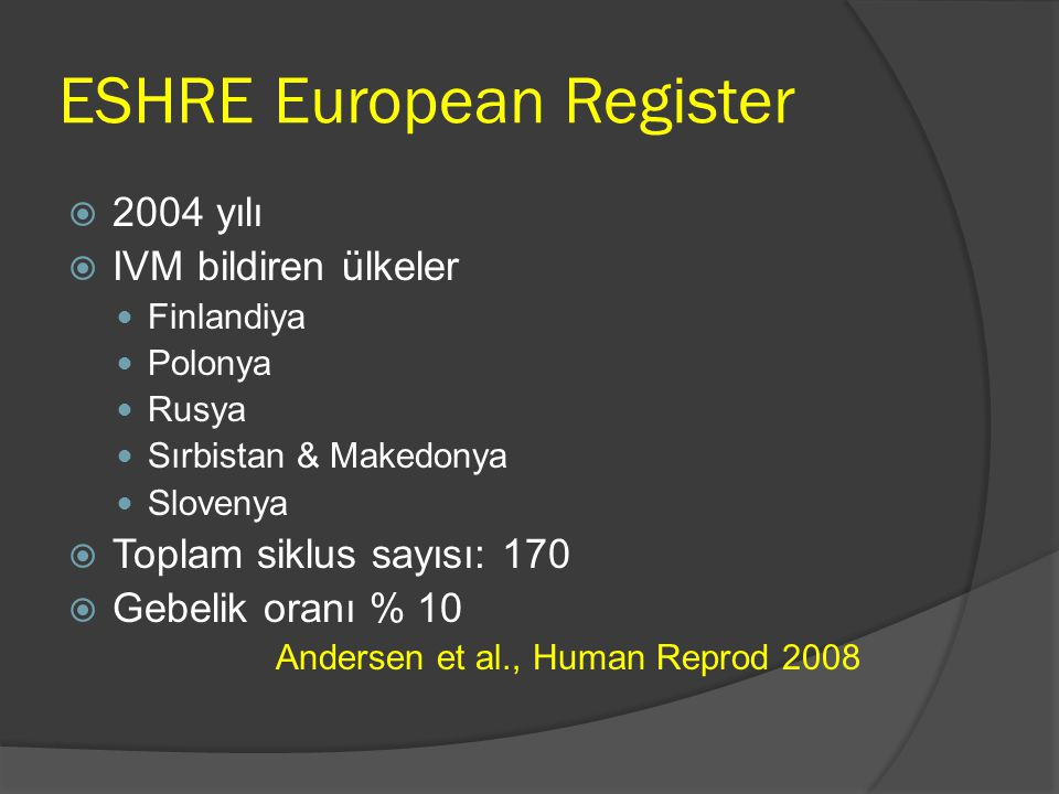ESHRE European Register