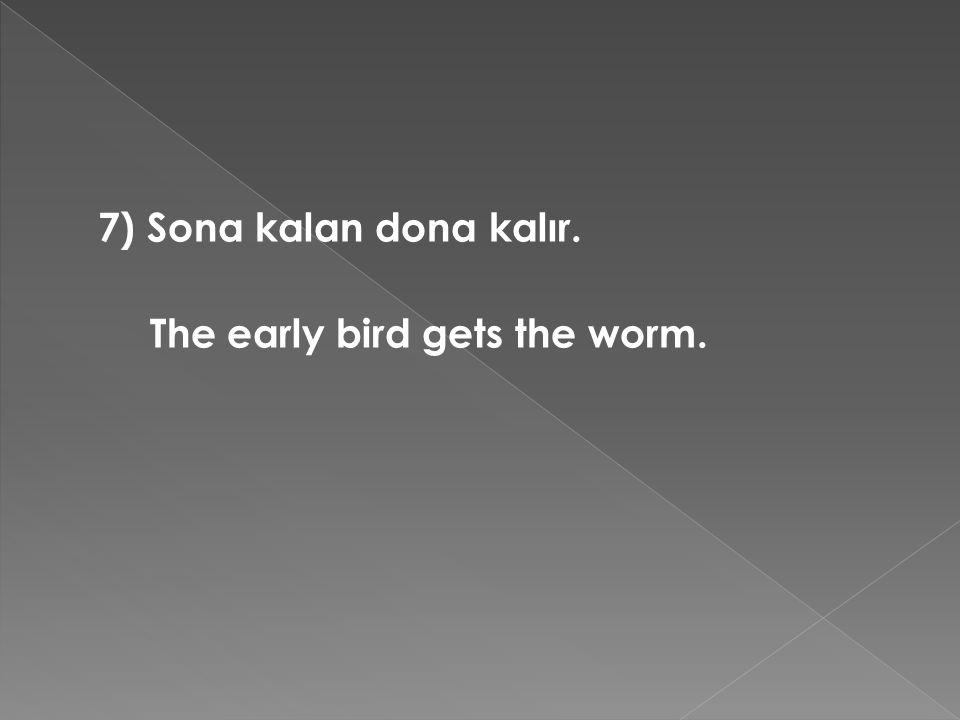 7) Sona kalan dona kalır. The early bird gets the worm.