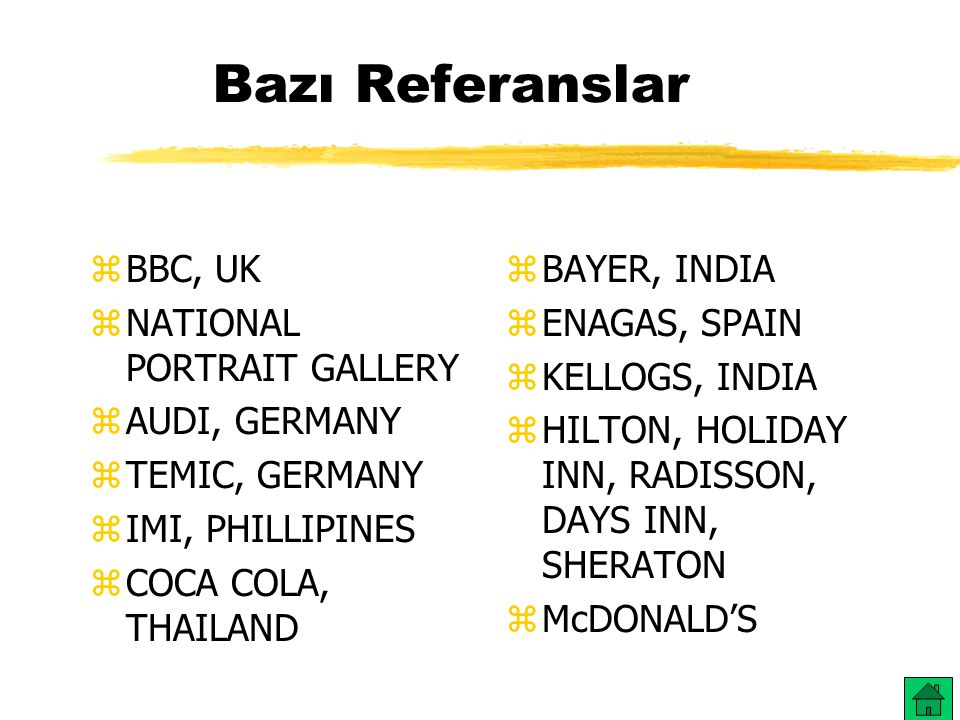 Bazı Referanslar BBC, UK NATIONAL PORTRAIT GALLERY AUDI, GERMANY