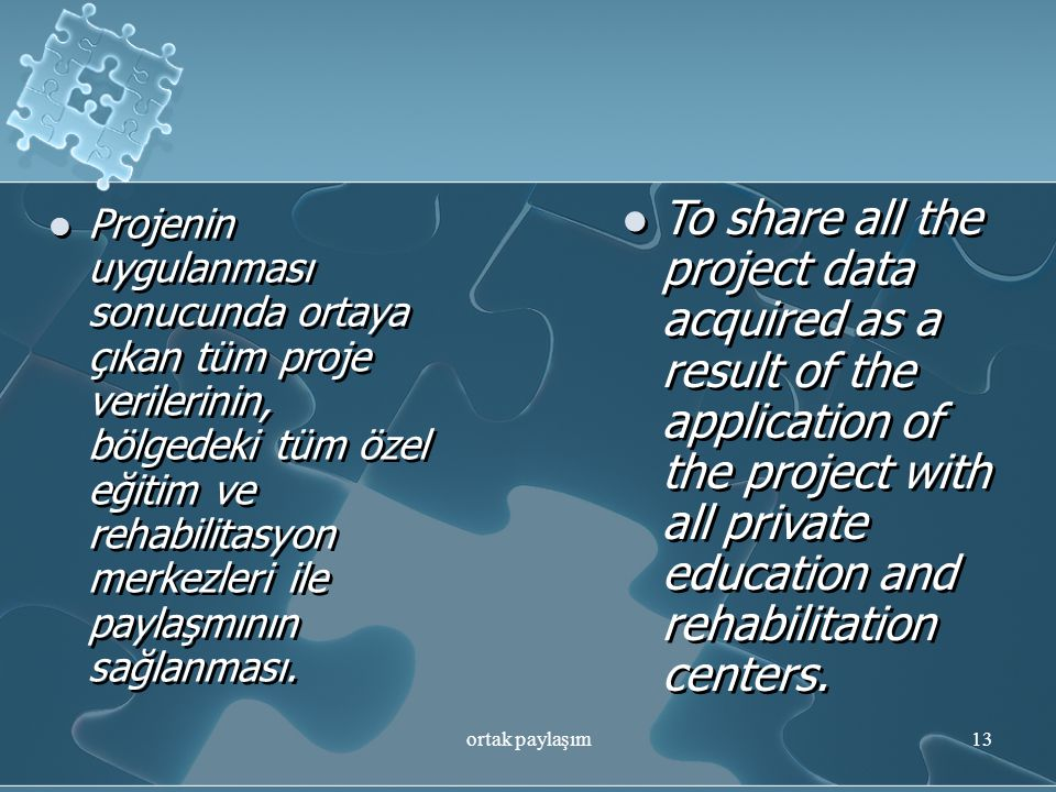 To share all the project data acquired as a result of the application of the project with all private education and rehabilitation centers.