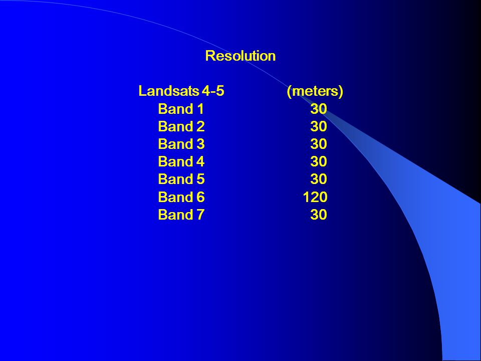 Resolution Landsats 4-5 (meters) Band 1 30. Band 2 30. Band 3 30. Band 4 30.