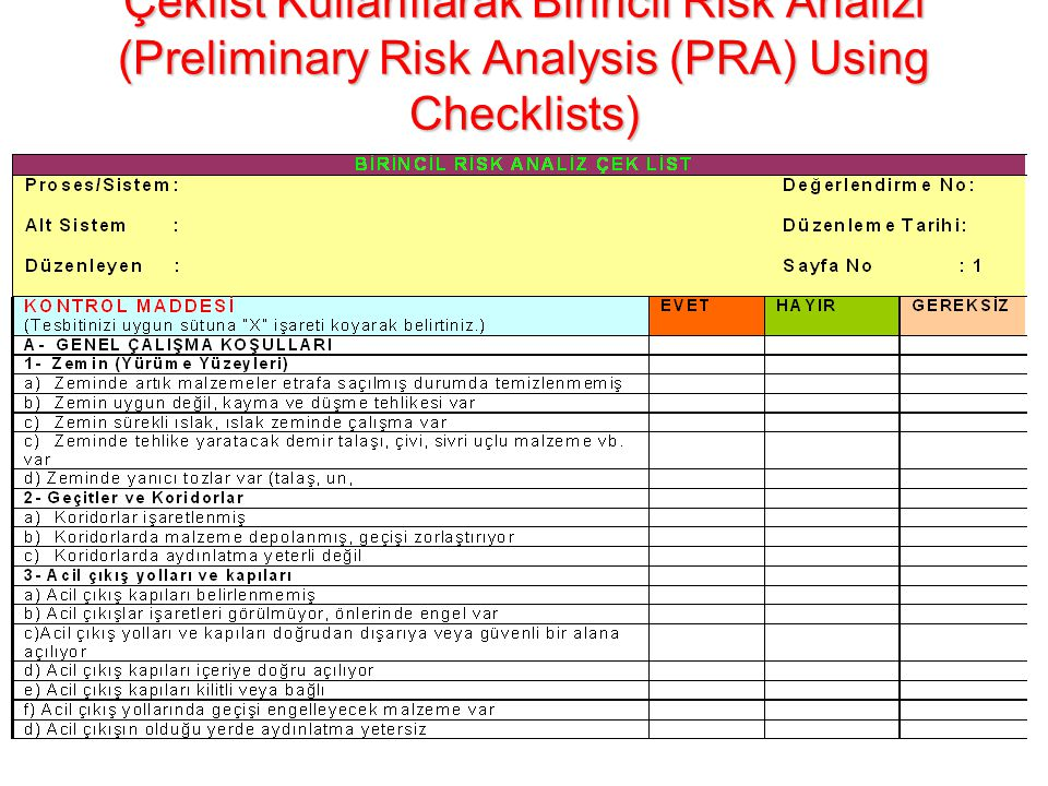 Çeklist Kullanılarak Birincil Risk Analizi (Preliminary Risk Analysis (PRA) Using Checklists)