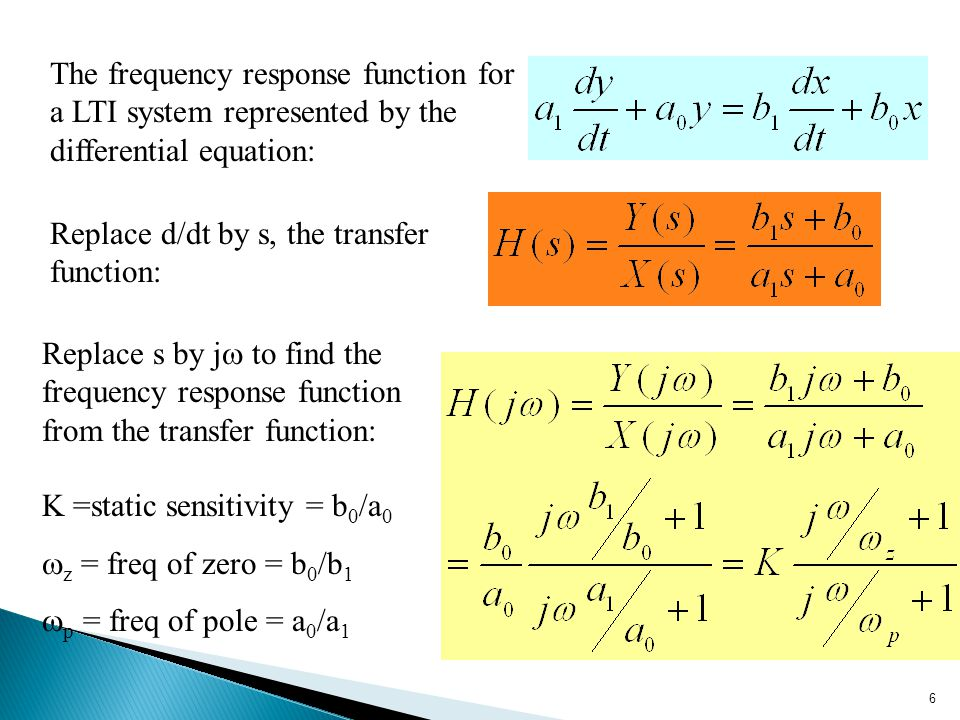 The frequency response function for a LTI system represented by the differential equation: