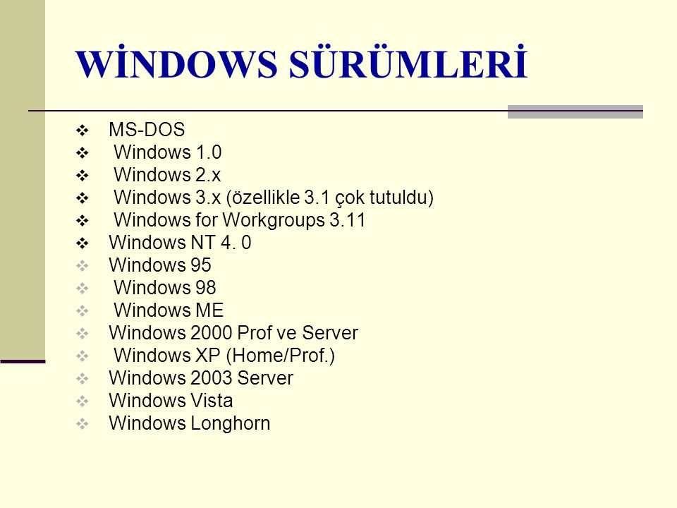 WİNDOWS SÜRÜMLERİ MS-DOS Windows 1.0 Windows 2.x