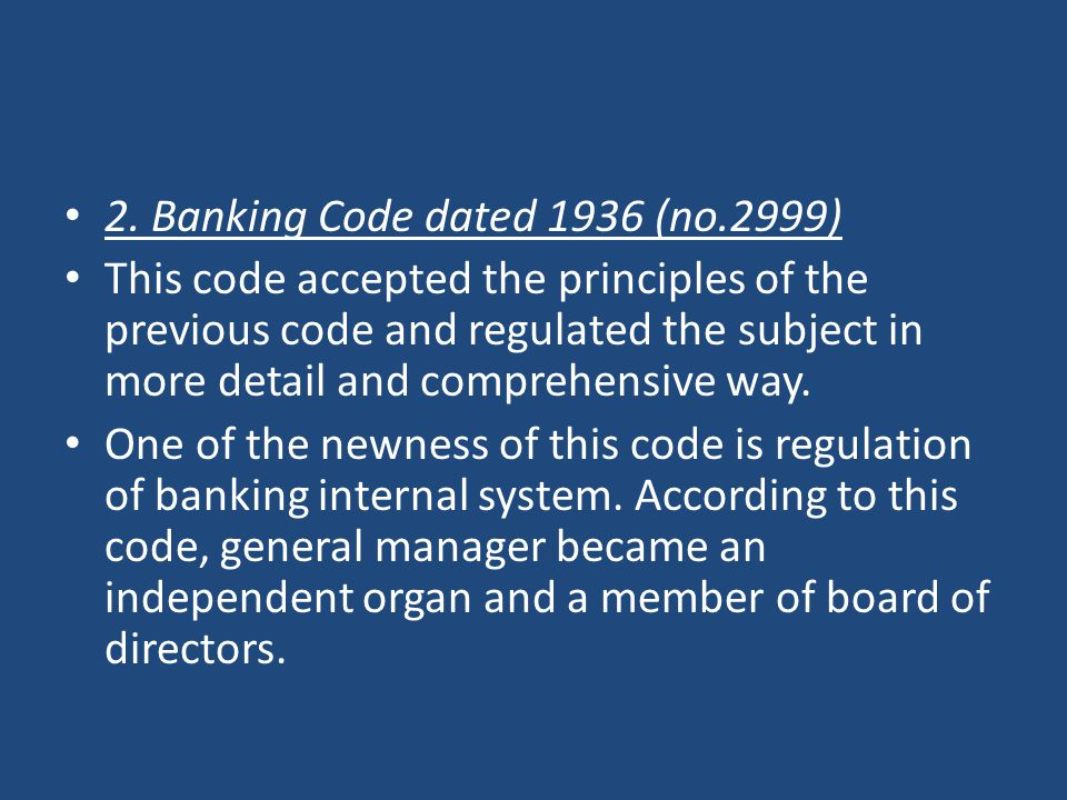 2. Banking Code dated 1936 (no.2999)