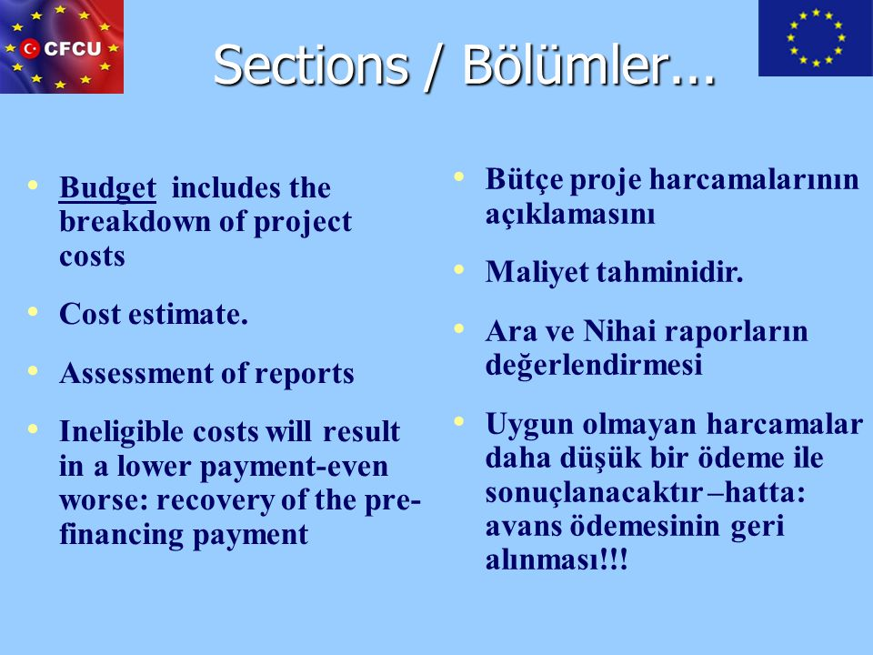 Sections / Bölümler... Budget includes the breakdown of project costs