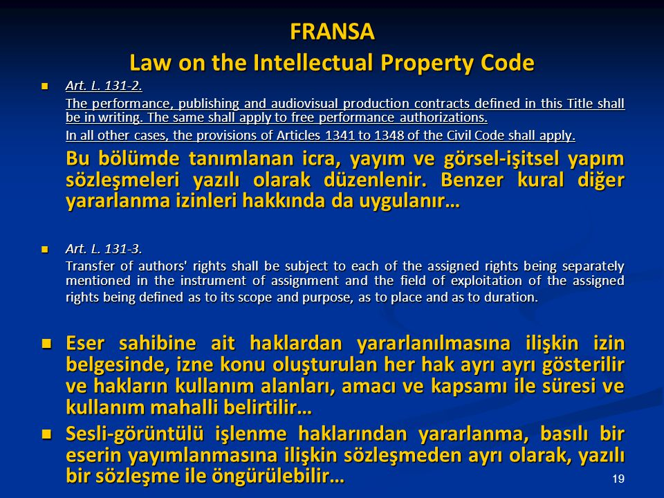 FRANSA Law on the Intellectual Property Code