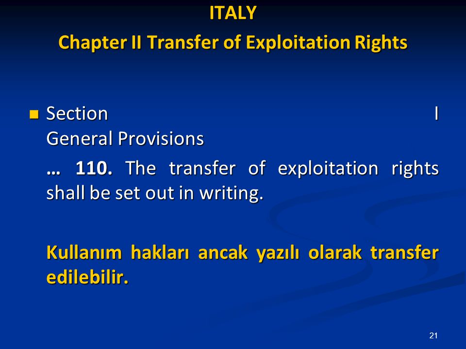 ITALY Chapter II Transfer of Exploitation Rights