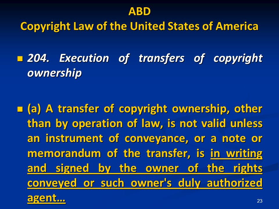 ABD Copyright Law of the United States of America