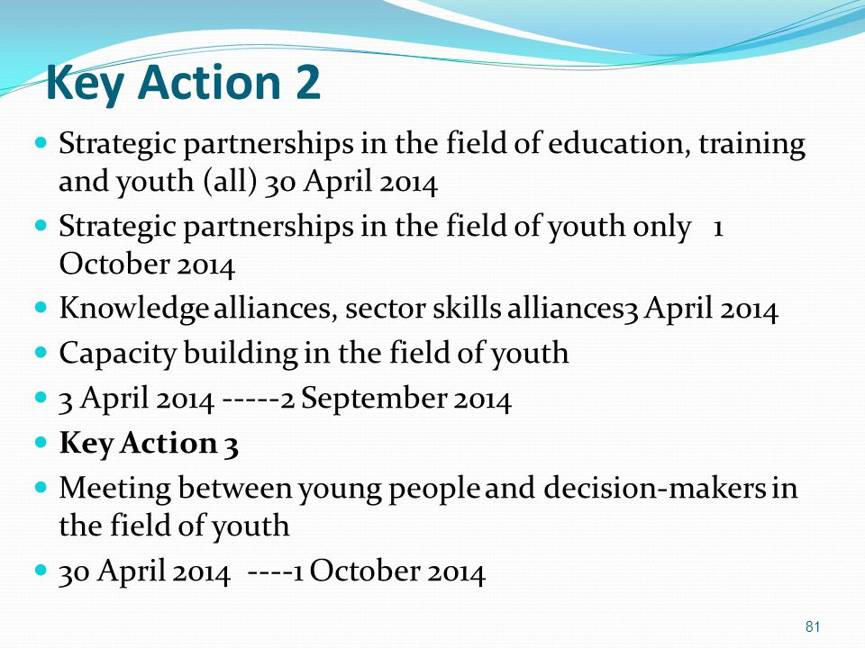 Key Action 2 Strategic partnerships in the field of education, training and youth (all) 30 April 2014.