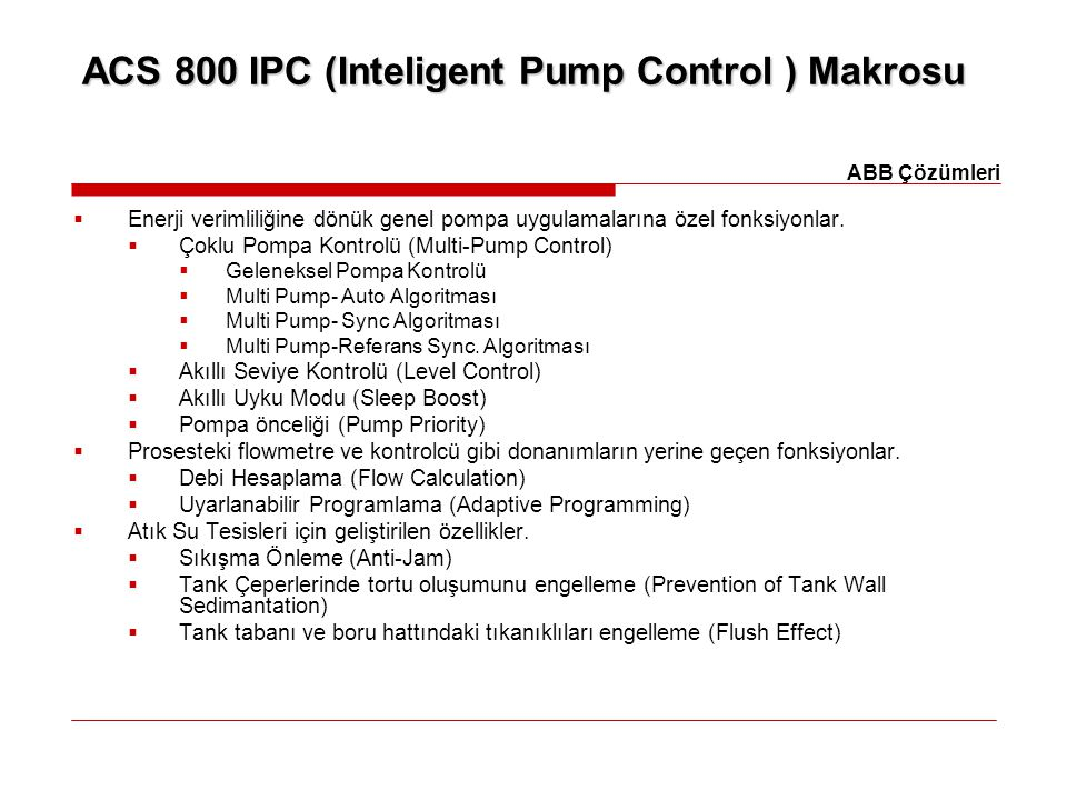 ACS 800 IPC (Inteligent Pump Control ) Makrosu