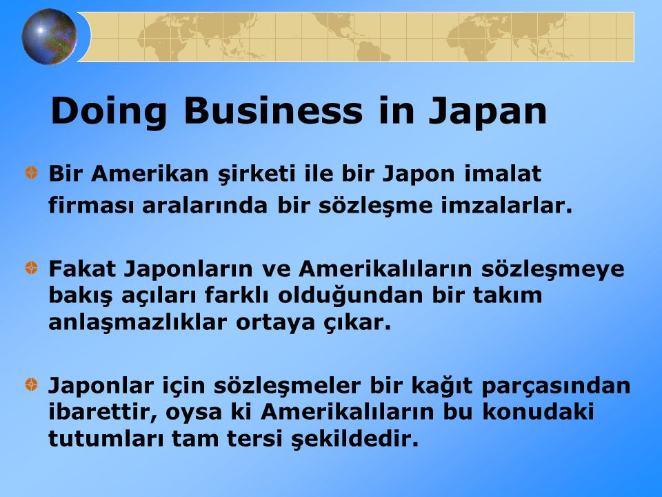 doing business in japan essay Doing business in japan we use cookies to give doing the best experience possible management sciences have long identified that there are many forms of business.