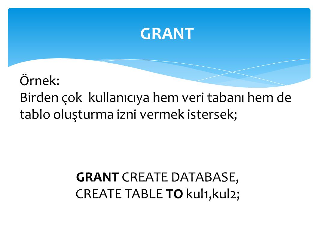 GRANT CREATE DATABASE, CREATE TABLE TO kul1,kul2;