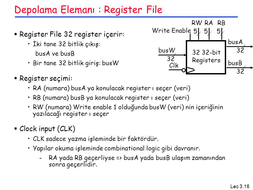 Depolama Elemanı : Register File
