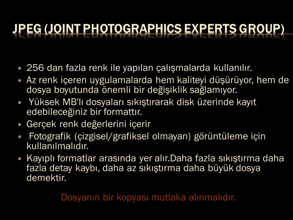 JPEG (Joint Photographics Experts Group)