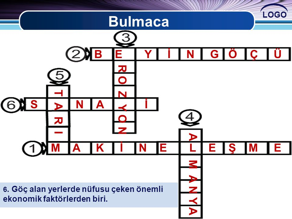Bulmaca B E Y İ N G Ö Ç Ü R O Z Y O N S N A İ T A R I